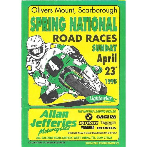 1995 Oliver's Mount, Scarborough Spring National Road Race Motor Cycle Race Meeting (23/04/1995) Motor Cycle Racing Programme
