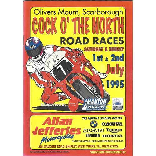 1995 Oliver's Mount, Scarborough Cock O'The North Road Race Motor Cycle Race Meeting (01-02/07/1995) Motor Cycle Racing Programme