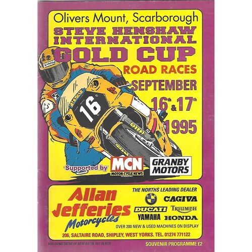 1995 Oliver's Mount, Scarborough International Steve Henshaw Gold Cup Motor Cycle Race Meeting (16-17/09/1995) Motor Cycle Racing Programme