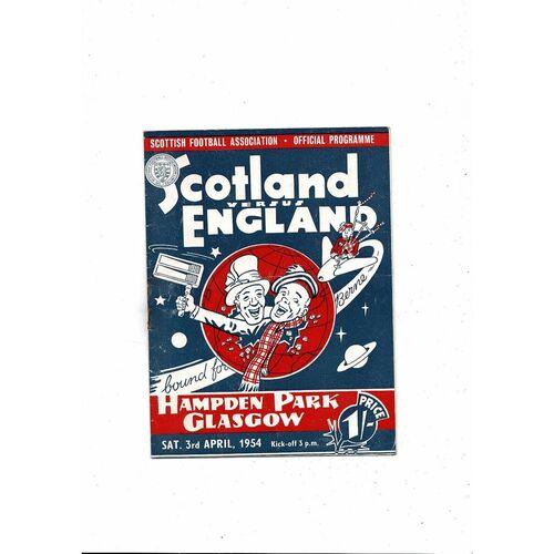 1954 Scotland v England Football Programme