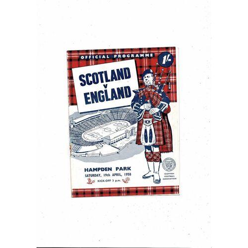 1958 Scotland v England Football Programme