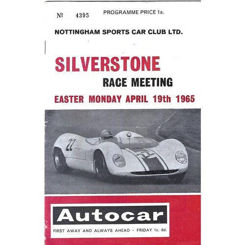1965 Silverstone Nottingham Sports Car Club Race Meeting (19/04/1965) Motor Racing Programme