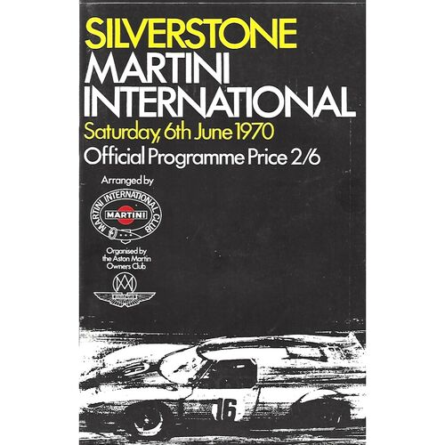1970 Silverstone Martini International Race Meeting (06/06/1970) Motor Racing Programme