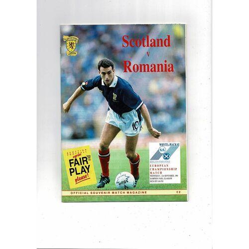 1990 Scotland v Romania Football Programme