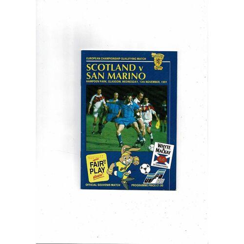 1991 Scotland v San Marino Football Programme