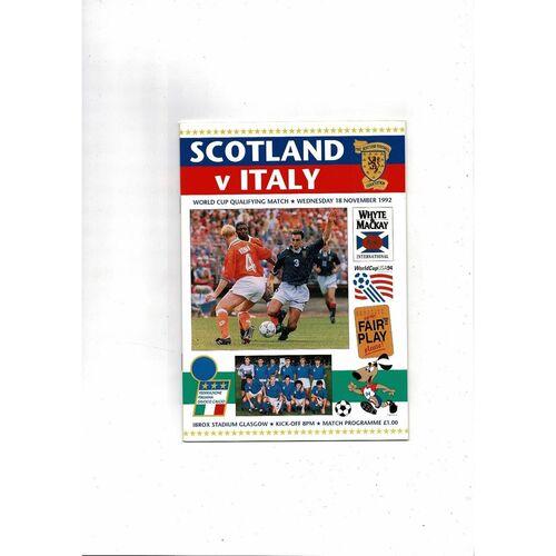 1992 Scotland v Italy Football Programme