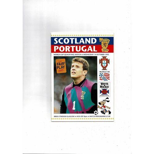 1992 Scotland v Portugal Football Programme