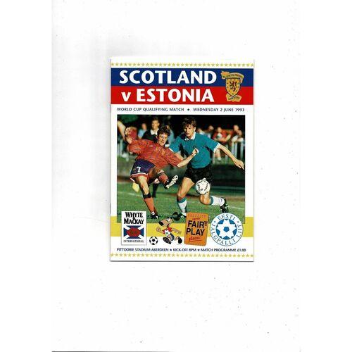 1993 Scotland v Estonia Football Programme
