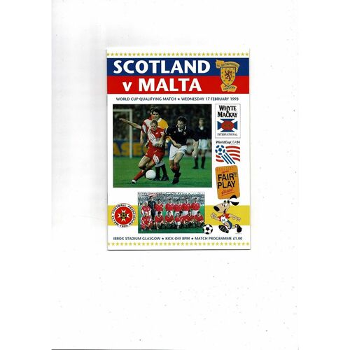 1993 Scotland v Malta Football Programme