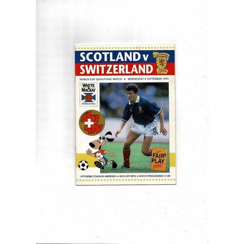 1993 Scotland v Switzerland Football Programme