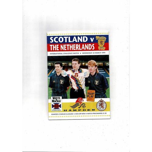 1994 Scotland v Holland Football Programme