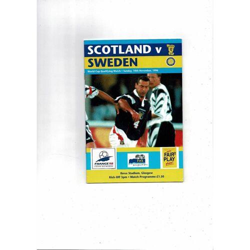1996 Scotland v Sweden Football Programme