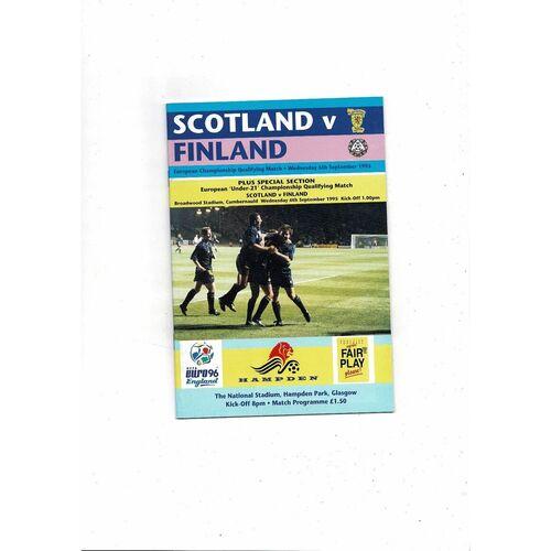 1995 Scotland v Finland Football Programme