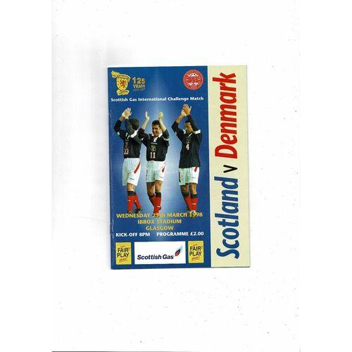 1998 Scotland v Denmark Football Programme