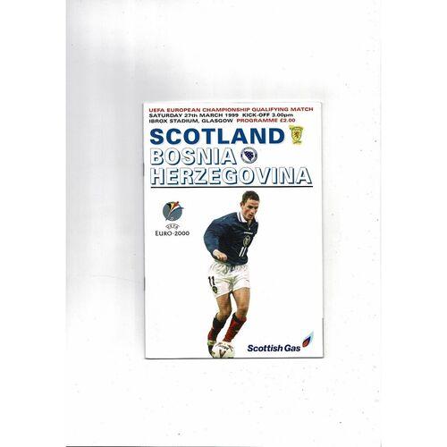 1999 Scotland v Bosnia Herzegovina Football Programme March