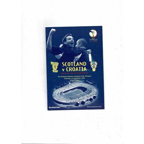 2001 Scotland v Croatia Football Programme