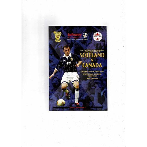 2002 Scotland v Canada Football Programme