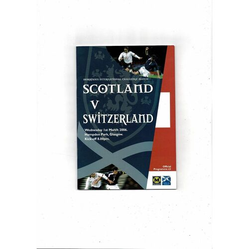 2006 Scotland v Switzerland Football Programme
