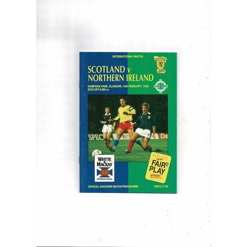 1992 Scotland v Northern Ireland Football Programme