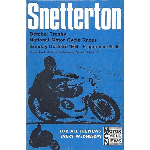 1966 Snetterton October Trophy National Motor Cycle Races Meeting (23/10/1966) Motor Cycle Racing Programme