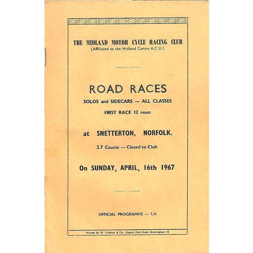 1967 Snetterton The Midland Motor Cycle Racing Club Solo & Side Car Road Race Meeting (16/04/1967) Motor Cycle Racing Programme