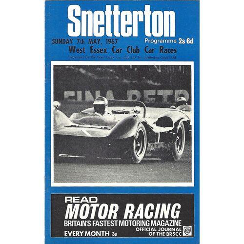 1967 Snetterton West Essex Car Club Car Races Meeting (07/05/1967) Motor Racing Programme