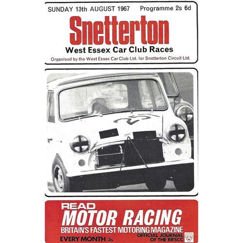1967 Snetterton West Essex Car Club Car Races Meeting (13/08/1967) Motor Racing Programme