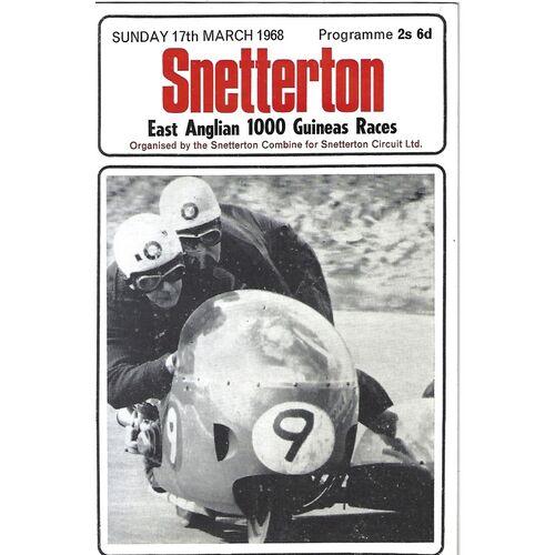 1968 Snetterton East Anglian 1,000 Guineas Races Meeting (17/03/1968) Motor Cycle Racing Programme