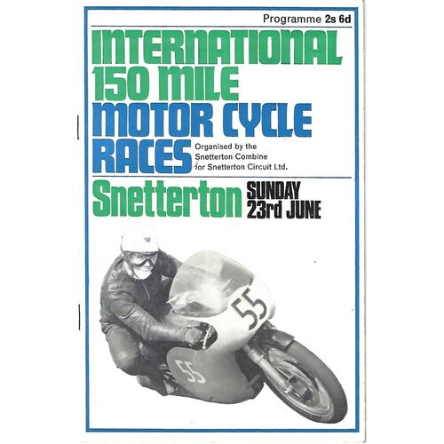 1968 Snetterton International 150 Mile Motor Cycle Races Meeting (23/06/1968) Motor Cycle Racing Programme