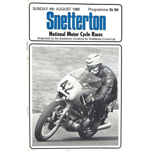 1968 Snetterton National Motor Cycle Race Meeting (04/08/1968) Motor Cycle Racing Programme
