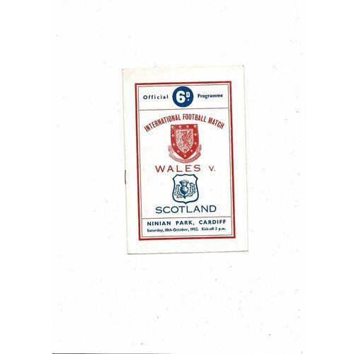 1952 Wales v Scotland Football Programme