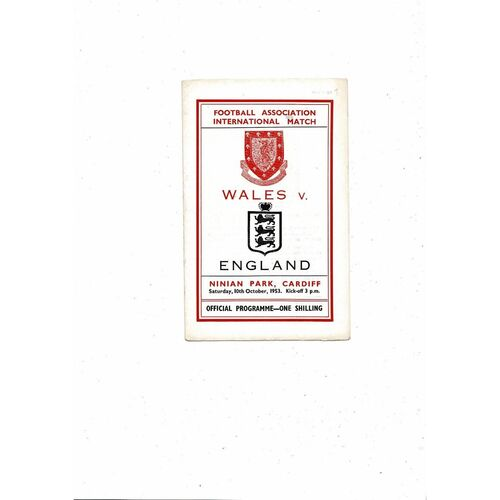 1953 Wales v England Football Programme @ Cardiff