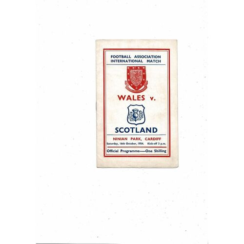 1954 Wales v Scotland Football Programme