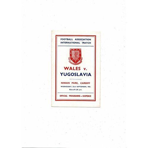 1954 Wales v Yugoslavia Football Programme