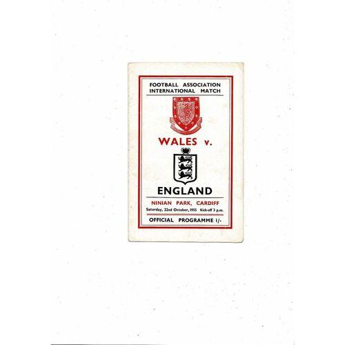 1955 Wales v England Football Programme