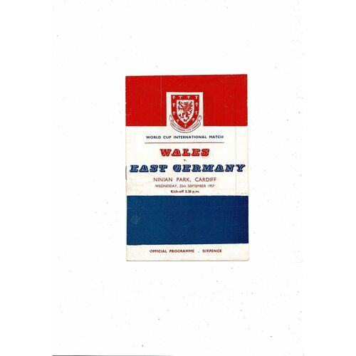 1957 Wales v East Germany Football Programme