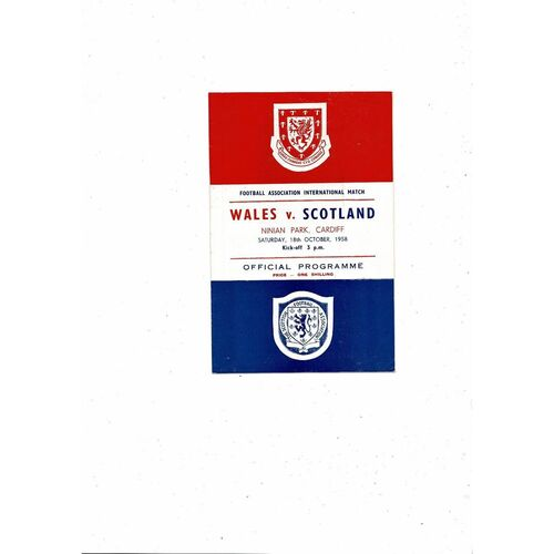 1958 Wales v Scotland Football Programme