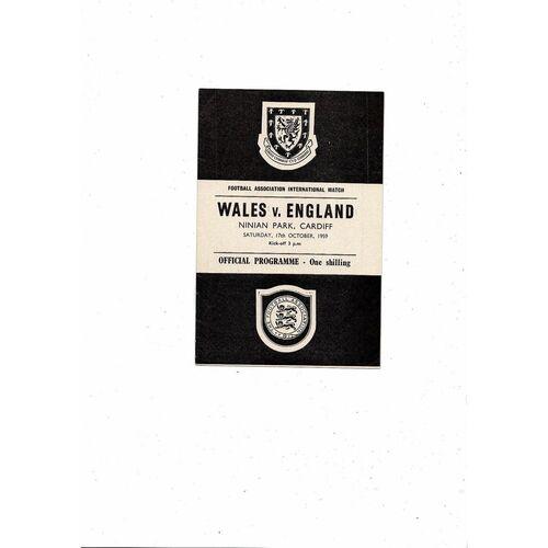1959 Wales v England Football Programme at Cardiff