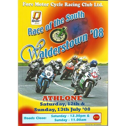 2008 Athlone Race of the South Walderstown '08 Race Meeting (12-13/07/2008) Motor Cycle Racing Programme