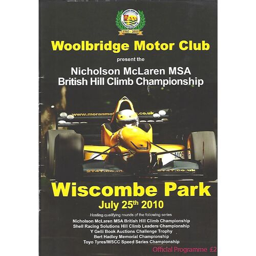 2010 Wiscombe Park Woodbridge Motor Club Nicolson McLaren MSA British Hill Climb Championship Race Meeting (25/07/2010) Motor Racing Programme