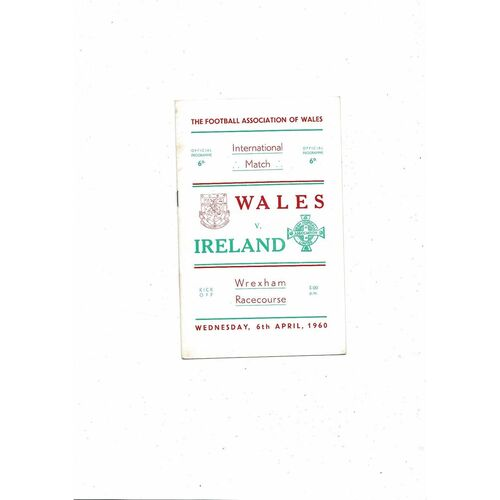 1960 Wales v Northern Ireland Football Programme