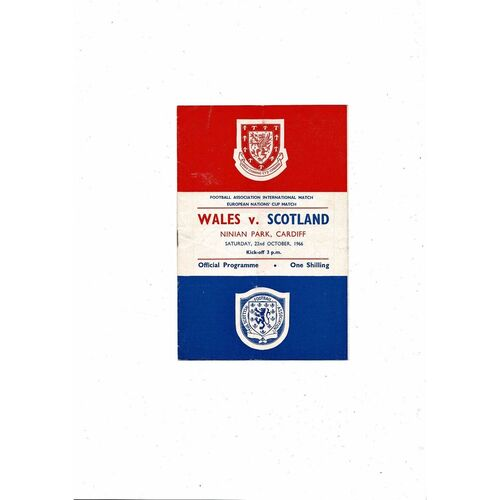 1966 Wales v Scotland Football Programme