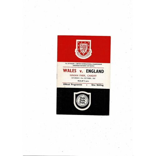 1967 Wales v England Football Programme @ Cardiff