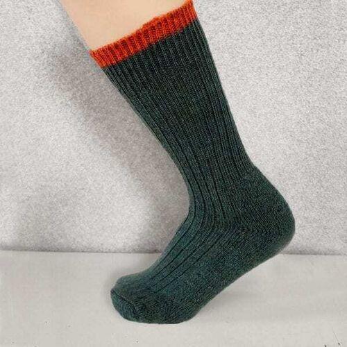 Woolyknit Wool Socks - Mallard with Burnt Orange Tip