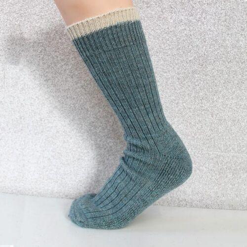 Woolyknit Wool Socks - Summer Storm with Aran Tip