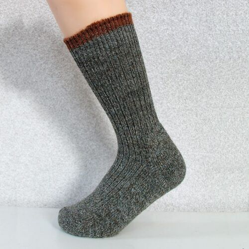 Woolyknit Wool Socks - Derby Tweed With Cinnamon Tip