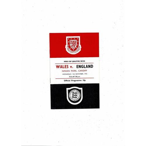 1972 Wales v England World Cup Football Programme