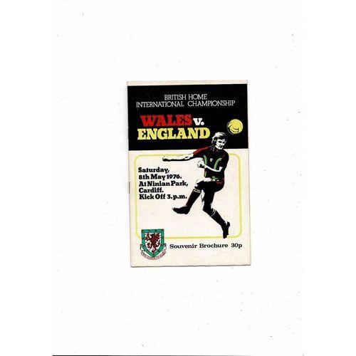 1976 Wales v England Football Programme May