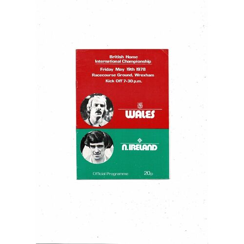 1978 Wales v Northern Ireland Football Programme @ Wrexham
