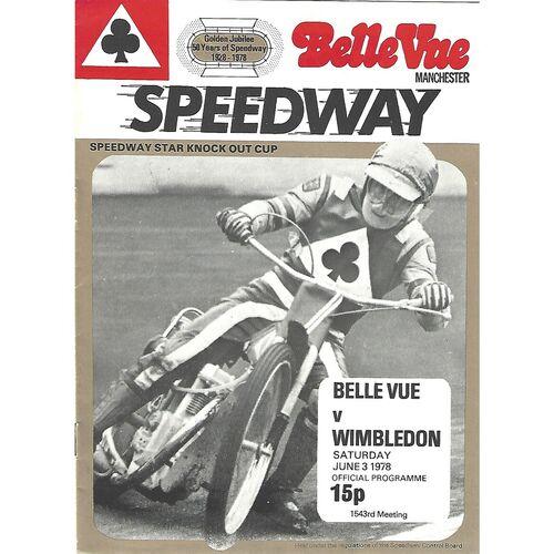 1978 Speedway Star Knock Out Cup Final 1st Leg Belle Vue v Wimbledon (03.06/1978) Speedway Programme